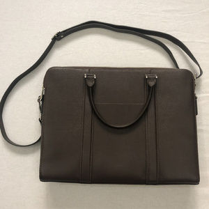 Barneys New York Brown Saffiano Leather Briefcase